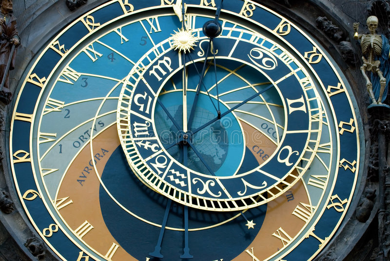 Prague Clock. A detail of the astronomical clock in Prague, Czech republic in the Old Town Square stock images