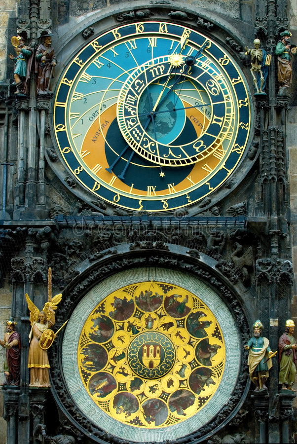 Prague Clock. A detail of the astronomical clock in Prague, Czech republic in the Old Town Square royalty free stock photography
