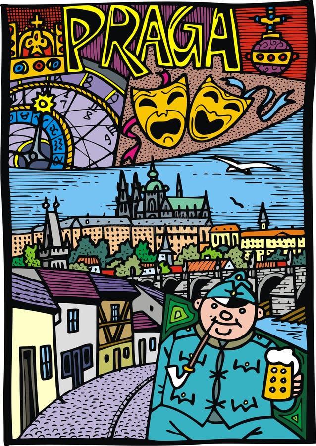 Prague comme République Tchèque du capital o illustration libre de droits