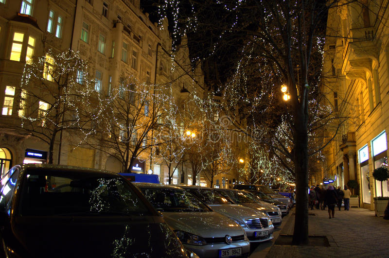 Prague commercial street at Christmas royalty free stock images