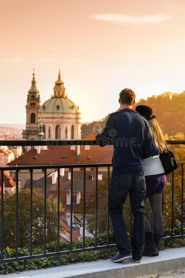 Prague, Couple looking over city royalty free stock image