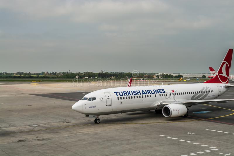 Prague, Czech, May 3rd, 2018, Plane of Boeing 737-800 of Turkish airlines,  taxing at Vaclav Havel Airport Prague, Czech. stock images