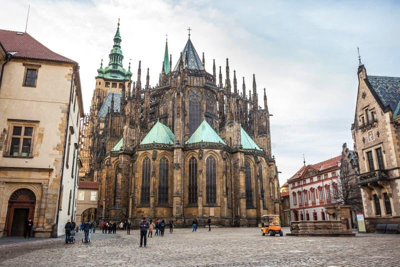 24.01.2018 Prague, Czech Rebublic - The Cathedral of Saints Vitus, Wenceslaus and Adalbert, a gothic Roman Catholic metropolitan. Cathedral in Prague stock photography
