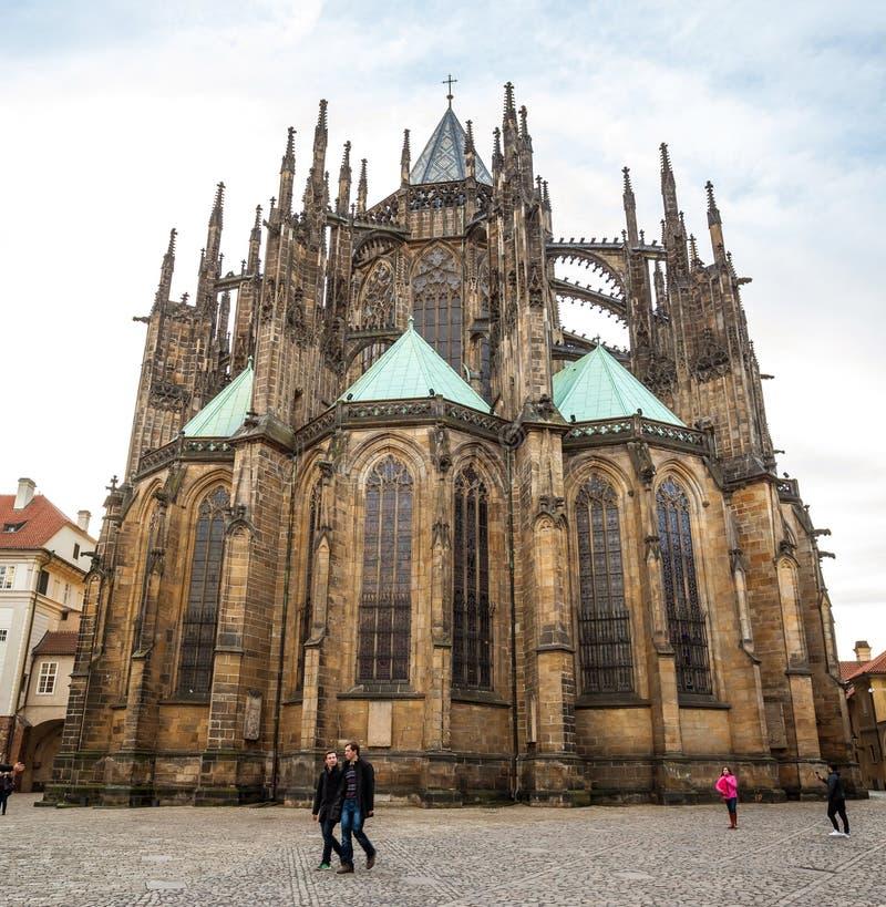 24.01.2018 Prague, Czech Rebublic - The Cathedral of Saints Vitus, Wenceslaus and Adalbert, a gothic Roman Catholic metropolitan. Cathedral in Prague royalty free stock images
