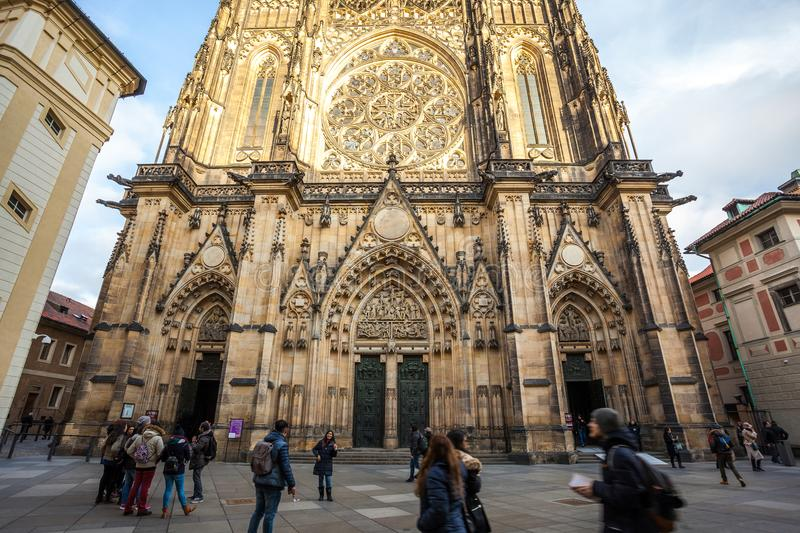 24.01.2018 Prague, Czech Rebublic - Front view of the main entrance to the St. Vitus cathedral in Prague Castle in Prague, Czech. Republic royalty free stock photos
