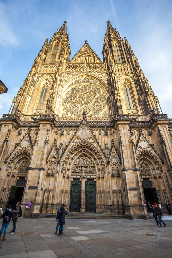 24. 01. 2018 Prague, Czech Rebublic - Front view of the main entra. Nce to the St. Vitus cathedral in Prague Castle in Prague, Czech Republic stock image