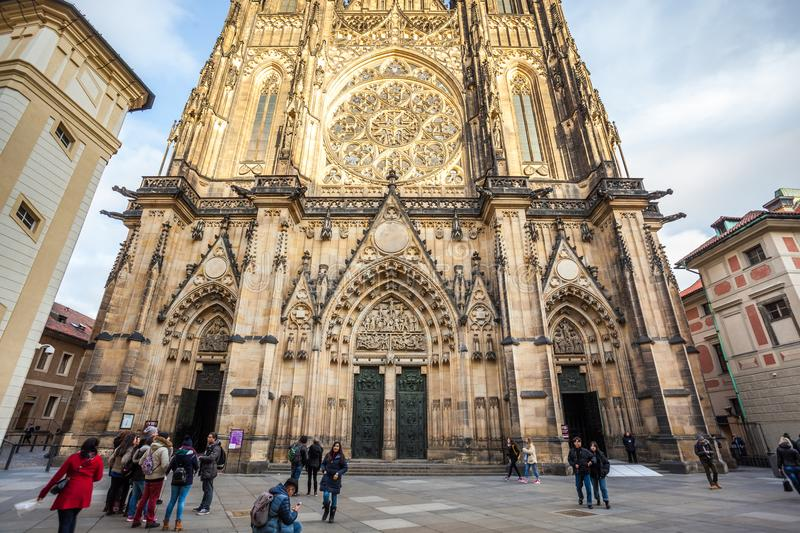 24.01.2018 Prague, Czech Rebublic - Front view of the main entrance to the St. Vitus cathedral in Prague Castle in Prague, Czech. Republic royalty free stock photography