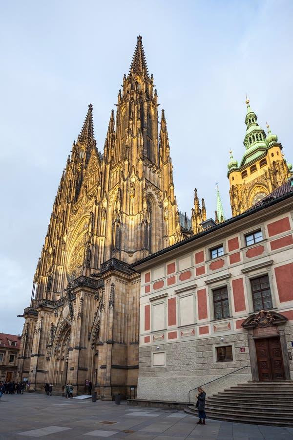 24.01.2018 Prague, Czech Rebublic - Tourists visit St Vitus Cathedral at Prague Castle. 24.01.2018 Prague, Czech Rebublic - Tourists visit St Vitus Cathedral at stock images
