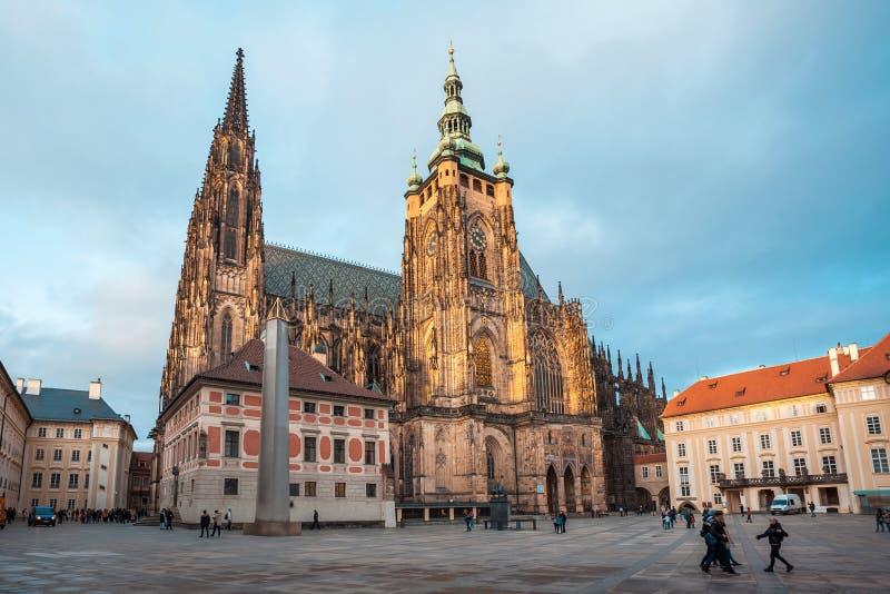 24.01.2018 Prague, Czech Rebublic - Tourists visit St Vitus Cathedral at Prague Castle. 24.01.2018 Prague, Czech Rebublic - Tourists visit St Vitus Cathedral at royalty free stock photos