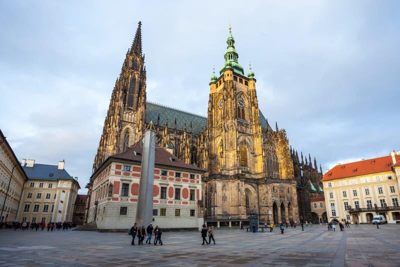 24.01.2018 Prague, Czech Rebublic - Tourists visit St Vitus Cathedral at Prague Castle. 24.01.2018 Prague, Czech Rebublic - Tourists visit St Vitus Cathedral at stock photography