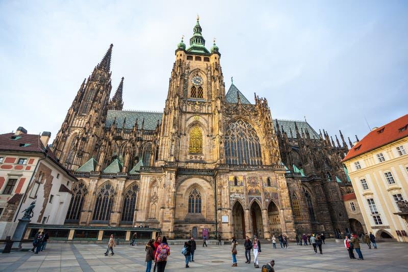 24.01.2018 Prague, Czech Rebublic - Tourists visit St Vitus Cathedral at Prague Castle. 24.01.2018 Prague, Czech Rebublic - Tourists visit St Vitus Cathedral at royalty free stock photo
