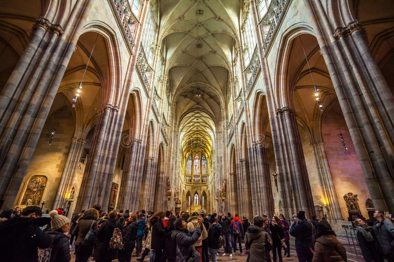 24.01.2018 Prague, Czech Rebublic - A view inside the historic S. T. Vitus Cathedral in Prague, located within the walls of Prague Castle stock photos