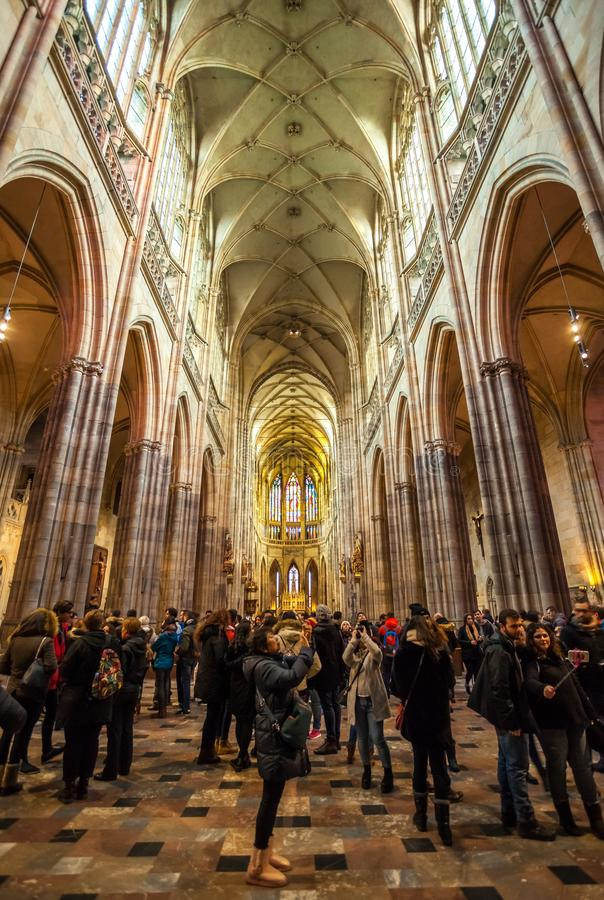 24.01.2018 Prague, Czech Rebublic - A view inside the historic S. T. Vitus Cathedral in Prague, located within the walls of Prague Castle royalty free stock images