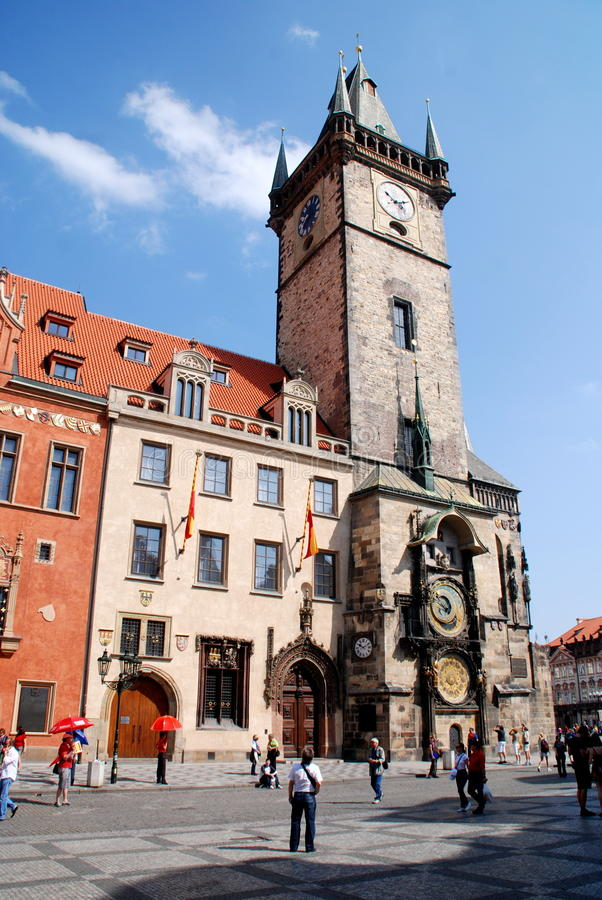 Prague, Czech Rep: 1338 Old Town Hall. The 1338 medieval Old Town Hall tower with its outstanding 15th century dual astronomical clocks created by the master stock photo