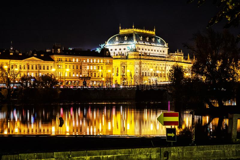 National theatre building, Prague, Czech republic. PRAGUE, CZECH REPUBLIC – OCTOBER 31, 2018: National theatre building and Vltava river, Prague, Czech royalty free stock photography