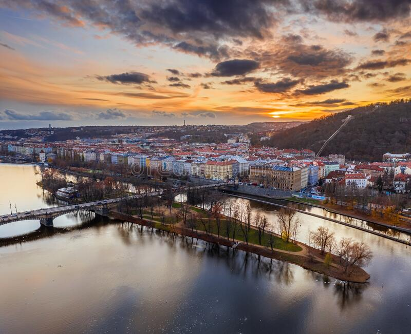 Prague, Czech Republic - Aerial panoramic drone view of Strelecky Island with a beautiful winter sunset. And colorful sky royalty free stock photography