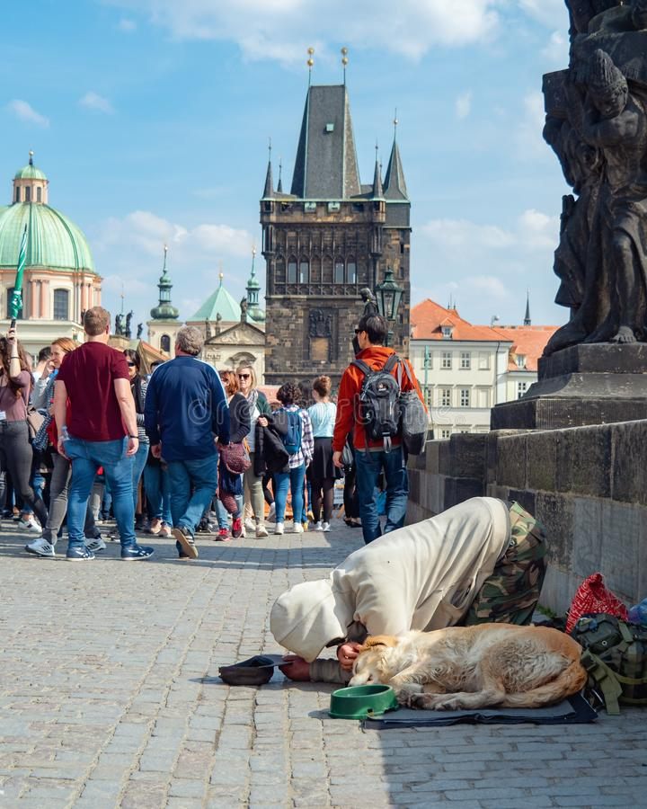 Prague, Czech republic - april 2019: Beggar with his dog ask alms of tourists on Charles bridge. Beggar bend down on his stock photo