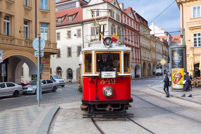 Prague, Czech Republic - April, 2018: Red retro tram on the street of Mala Strana, Prague stock image