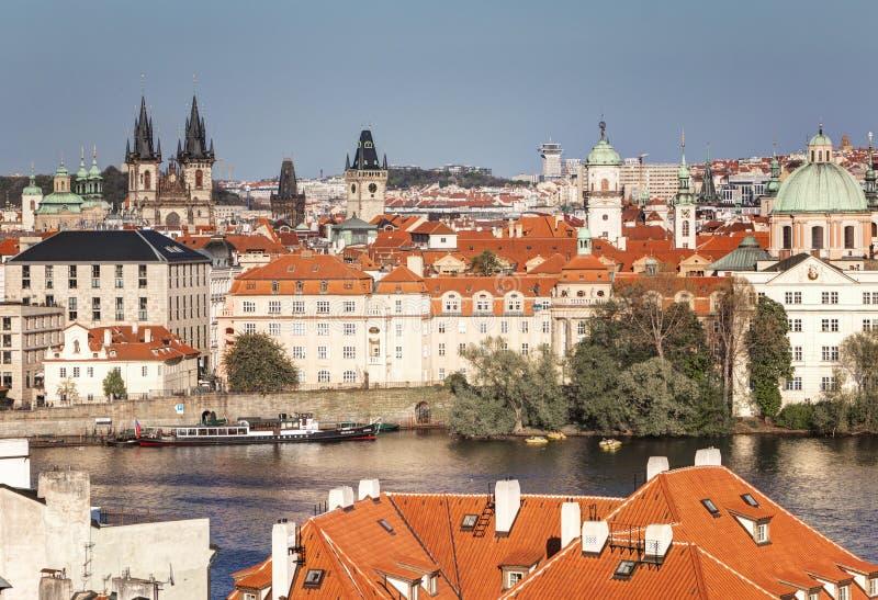 Prague, Czech Republic, April 22, 2019 - View of Prague from a height. Roofs of Prague stock photo