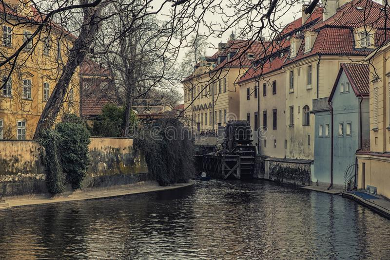 Watermill in the channels of Prague, Czechoslovakia royalty free stock photography
