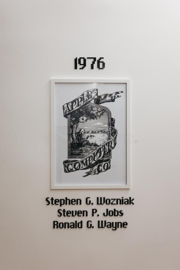 Apple Computers & Co logo, formation year and founders ` names in Apple Museum in Prague, Czech Republic. Prague, Czech Republic - August 28, 2018: Apple stock photos