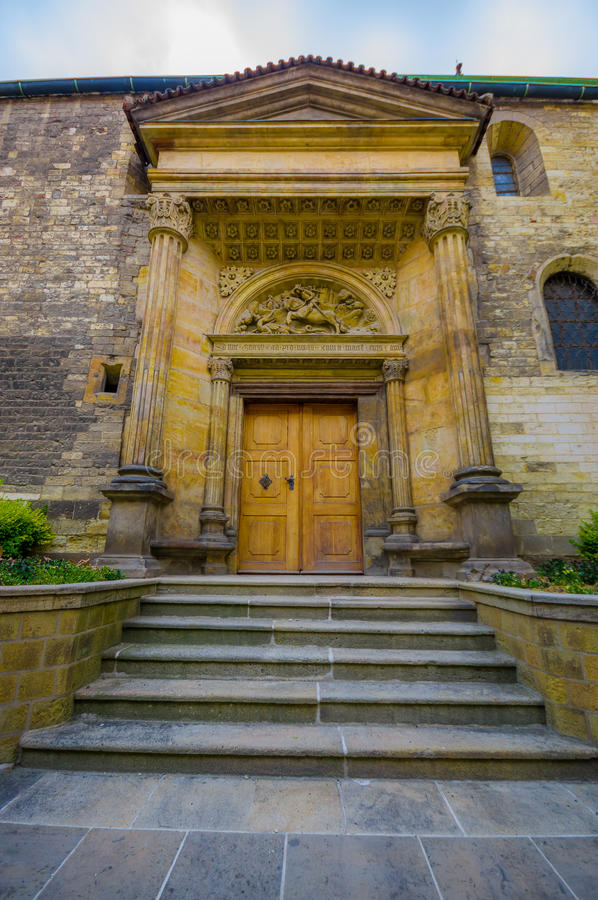 Prague, Czech Republic - 13 August, 2015: Beautiful old town door entrance, spectacular historic architecture royalty free stock images