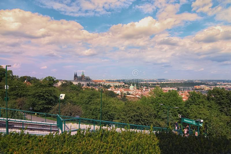 Landscape photo of Prague Castle with saint Vitus Cathedral View from Petrin Hill funicular tram station by summer sunny day. stock image
