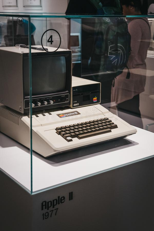 Macintosh Apple II computer on display inside Apple Museum in Prague, Czech Republic. Prague, Czech Republic - August 28, 2018: Macintosh Apple II computer on stock images