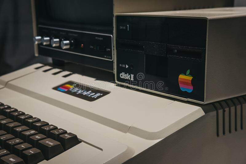 Macintosh Apple II computer on display inside Apple Museum in Prague, Czech Republic. Prague, Czech Republic - August 28, 2018: Macintosh Apple II computer on stock photo