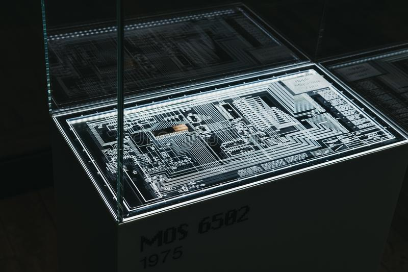 MOS 6502 microprocessor on display inside Apple Museum in Prague, Czech Republic. Prague, Czech Republic - August 28, 2018: MOS 6502 microprocessor on display stock image