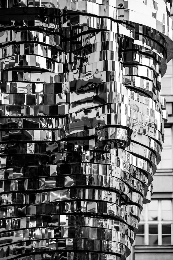 PRAGUE, CZECH REPUBLIC - AUGUST 17, 2018: Statue of Franz Kafka. Glossy metal mechanical sculpture of famous Czech royalty free stock photos