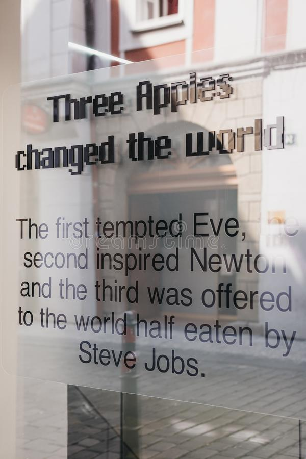 `Three Apples changed the world ` text outside Apple Museum in Prague, the largest private collection of Apple products around the royalty free stock images