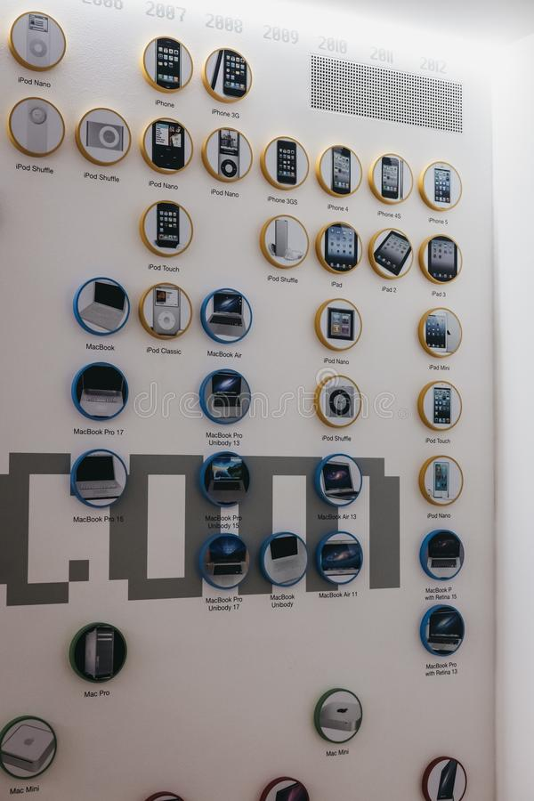Timeline of Apple products on a wall inside Apple Museum in Prague, Czech Republic. Prague, Czech Republic - August 28, 2018: Timeline of Apple products on a royalty free stock photo