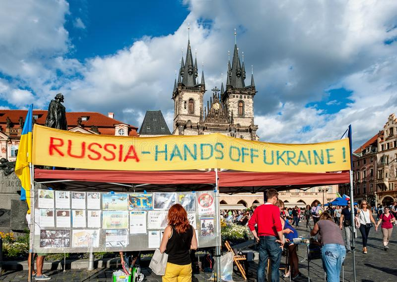 Prague, Czech Republic-August 13: Ukrainian activists protest in Prague, under the slogan Russia-hands off Ukraine on the old town royalty free stock photos