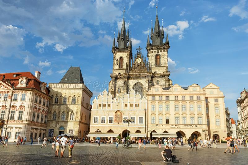 Prague Czech Republic-August 02. 2017: View of the Old Town Square and the Tyn Church stock photography