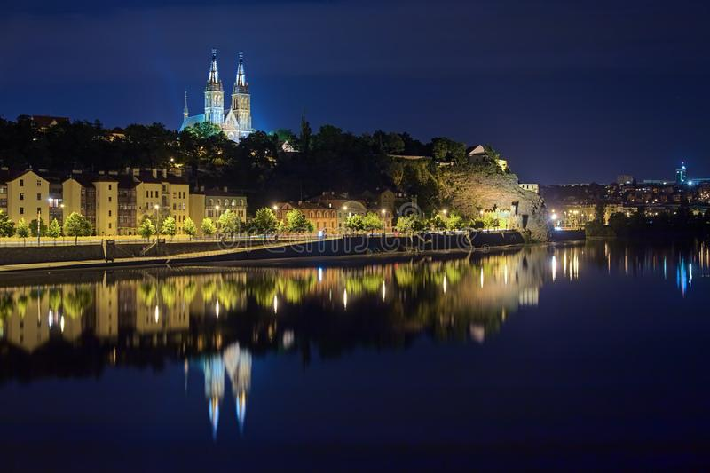 Basilica of St. Peter and St. Paul on the Vysehrad Hill in night, Prague, Czech Republic. Prague, Czech Republic. Basilica of St. Peter and St. Paul on the stock photo