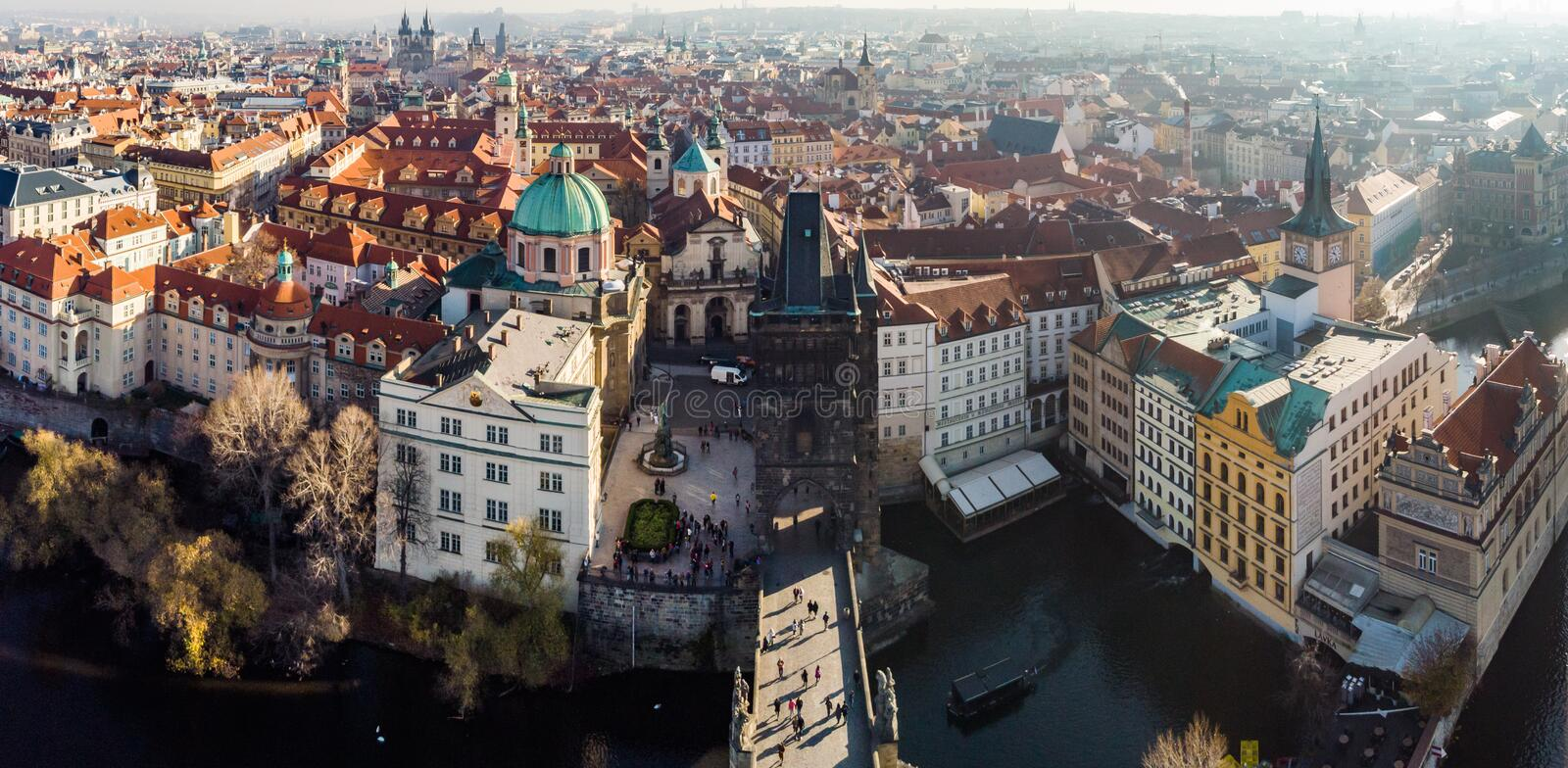 Aerial drone view Prague, Czech Republic. Charles Bridge Karluv Most Old Town Tower Vltava river Panorama. Prague, Czech Republic. Charles Bridge Karluv Most Old stock photos