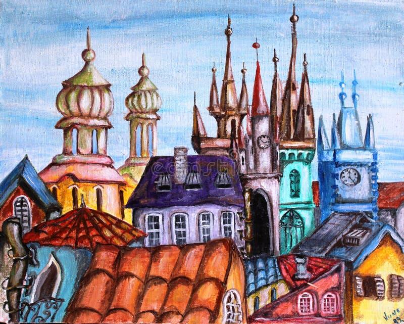 Download Prague Czech Republic Cityscape Cartoon Oil Painting Stock Illustration