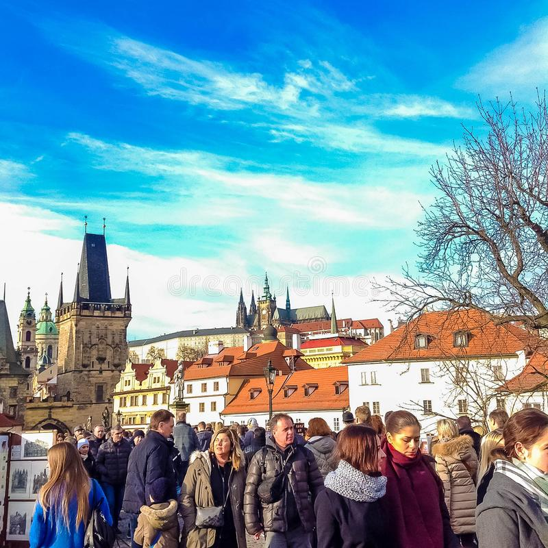 Free Prague, Czech Republic - December 31, 2017: People Walking On The Historic Charles Bridge Stock Images - 108353834