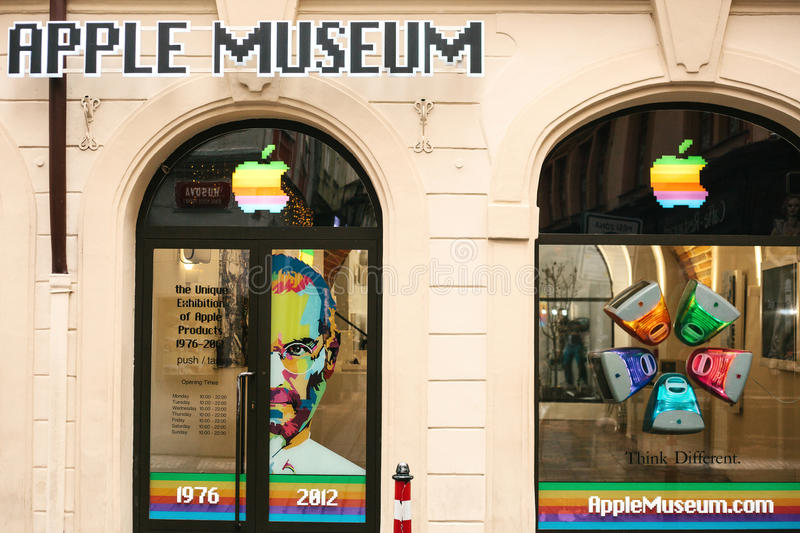 Prague, Czech Republic, December 24, 2016: Apple museum in Prague. Europe. American brand. Name of the company. Score. Prague, Czech Republic, December 24, 2016 stock photography