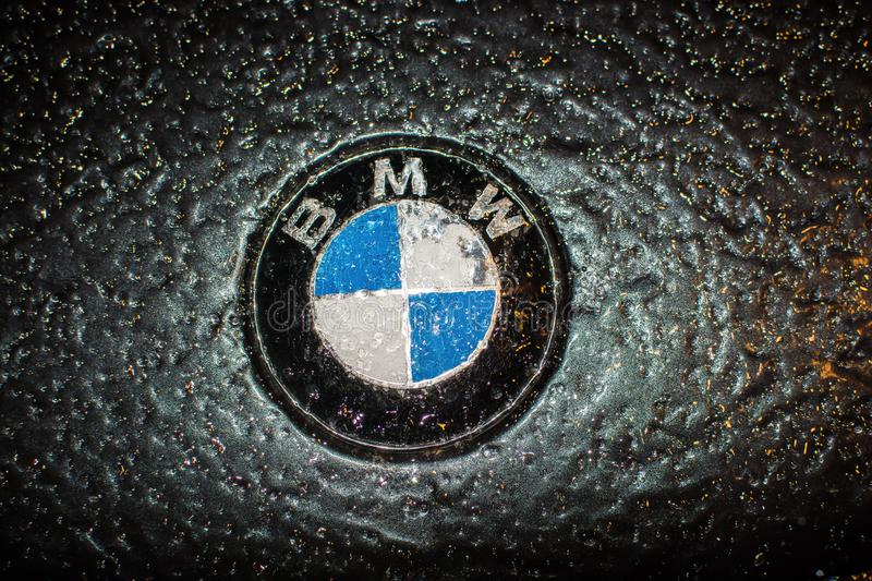 Prague, Czech Republic - December 01, 2014. BMW logo under the ice royalty free stock photography