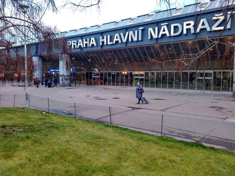 Prague, Czech Republic - December 24, 2017, the building of the main railway station. Modern building royalty free stock photos