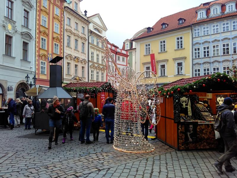 Prague, Czech Republic - December 24, 2017, Christmas Fair in the Old Town Square.  stock image