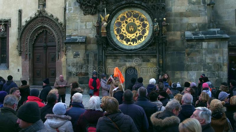 PRAGUE, CZECH REPUBLIC - DECEMBER 3, 2016. Crowded Old town square near local landmark Astronomical clock royalty free stock photography