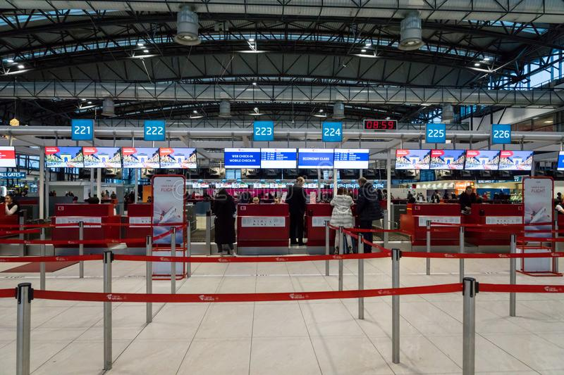 Czech Airlines check-in counter area at Prague Vaclav Havel Airport stock photo