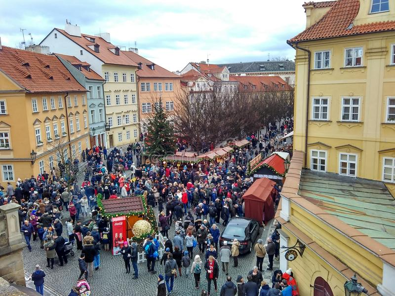 Prague, Czech Republic - December 24, 2017, a huge number of tourists for Christmas. Gathered in the Old Town Square royalty free stock photo