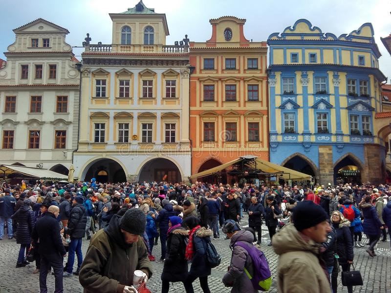 Prague, Czech Republic - December 24, 2017, a huge number of tourists for Christmas. Gathered in the Old Town Square royalty free stock images