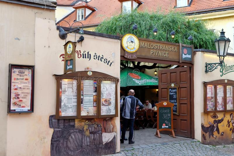 Prague, Czech Republic 2 December, 2016: The main entrance to Svejk beer. Prague. PRAGUE, CZECH REPUBLIC - JULY 5, 2014: Svejk beer pub - a famous Czech royalty free stock photo