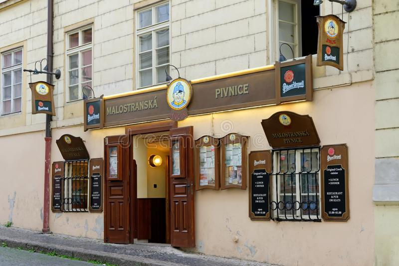 Prague, Czech Republic 2 December, 2016: The main entrance to Svejk beer. Prague. PRAGUE, CZECH REPUBLIC - JULY 5, 2014: Svejk beer pub - a famous Czech royalty free stock image