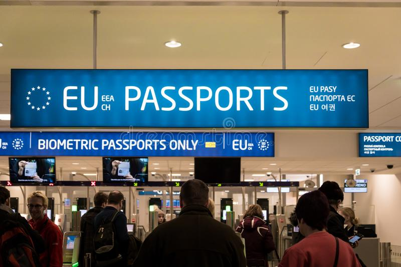 Passport control entrance area for EU and other passport holders at Prague Airport, Czech Republic. royalty free stock photography